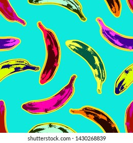 Seamless colorful psychedelic pop art style seamless pattern of bananas randomly distributed on light blue background. Vector Illustration.