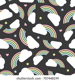 seamless colorful rainbow and cloud with polka dot,star and heart glitter pattern on grey background