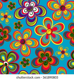 Seamless colorful retro flower background pattern in vector. Cute spring flowers hippie seamless pattern
