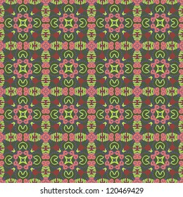 Seamless colorful retro pattern background, vector illustration