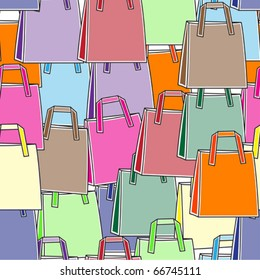Seamless colorful shopping bags background