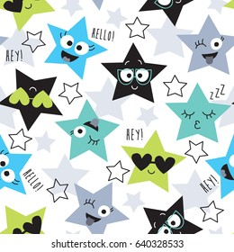 seamless colorful star pattern vector illustration