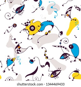 Seamless colorful surrealistic fun vector pattern with abstract eyes, shapes, spirals, arrows and dots. Line art drawing. Modern Joan Miro doodle style.