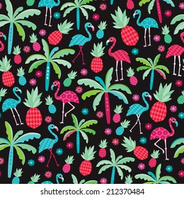 Seamless colorful tropical flamingo birds and pineapples paradise illustration background pattern in vector