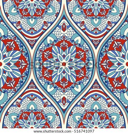 Seamless Colorful Turkish Pattern Endless Pattern Stock Vector Simple Turkish Pattern