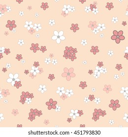 Seamless colorful vector illustration with small tender blossoms