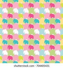 Seamless colorful wallpaper pattern. Abstract vector background with elephants in flat style. Patterned paper for scrapbook albums.