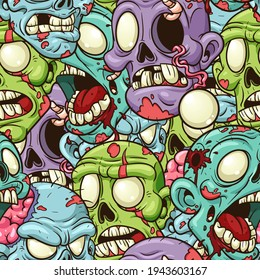 Seamless colorful yelling zombie pattern. Vector clip art illustration with simple gradients. Some elements on separate layers.