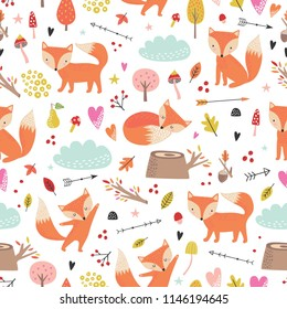 Seamless comic cartoon cute fox vector pattern. Hand draw doodle art illustration. Kids background