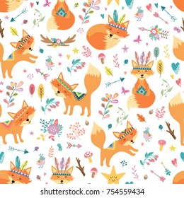 Seamless comic cartoon cute tribal fox vector pattern. Hand draw doodle art illustration. Kids background