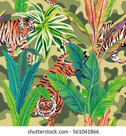 Seamless composition of the wild predatory animals tiger in the tropical jungle. Vector illustration of a print pattern wallpaper military khaki background