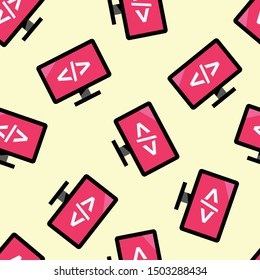 Seamless computer icon pattern on moccasin background. Simple flat vector design with bright colors for wrapping paper or web.