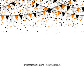 seamless confetti and garlands background with black, orange and white confetti used for Halloween layouts
