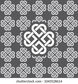 Seamless connected hearts pattern made of Celtic knots. Pattern color patch included.