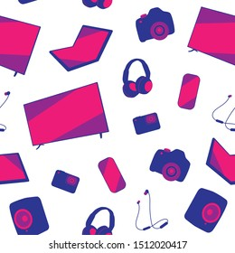 Seamless consumer gadgets and electronics pattern. Television, smartphone, headset, earphones, speakers, laptop, camera, action camera. Repetitive pattern on transparent background. EPS 10.