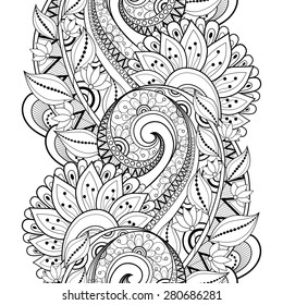 Seamless Contour Floral Pattern (Vector). Hand Drawn Monochrome Floral Texture, Decorative Flowers, Coloring Book