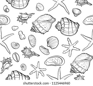 seamless contour pattern from sea shells, sea stars, pebbles, shells, mollusks. The style of hand drawing. It can be used for wallpapers, wrapping paper, textiles, bed linen, clothes.