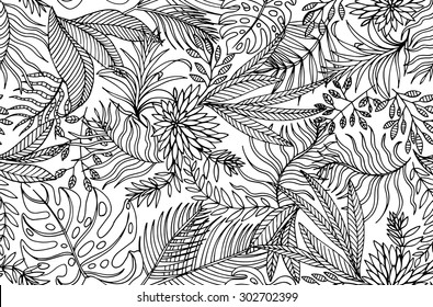 seamless contour tropical pattern, with exotic leaves, very gentle vector drawing.