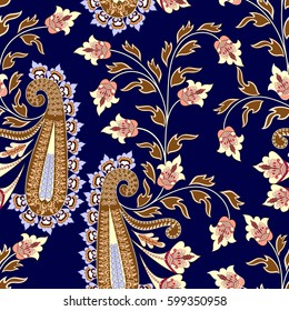 seamless contrast pattern with brown paisley and light purple festoon,decorative branch