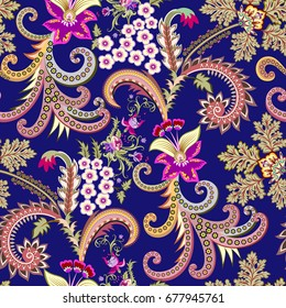 seamless contrast pattern with decorative colorful curls,  small flowers, green leaves on a dark blue background