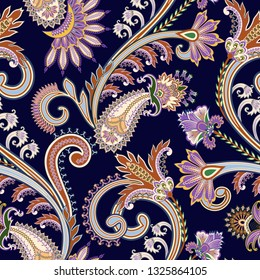 seamless contrast  pattern with  ornate big curls, paisley and decorative elements on a dark blue background