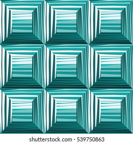 Seamless convex squares - vector illustration. Surround the squares, an illusion
