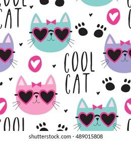 seamless cool cat pattern vector illustration