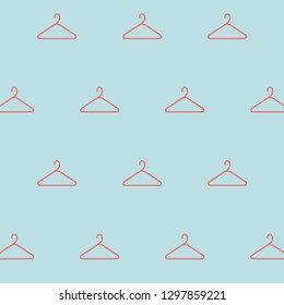 Seamless Coral Coat Hanger Icon Pale Blue Background Vector Pattern