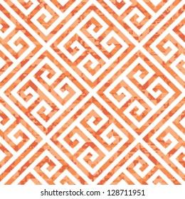 Seamless Coral Greek Key Background Pattern