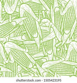 seamless corn pattern vector, hand drawing