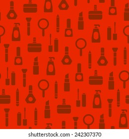 seamless cosmetics pattern on red background