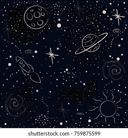 Seamless Cosmic Pattern with stars, planets, Moon, rocket, spiral galaxies and constellations. Hand Drawn with Brush. Vector Illustration