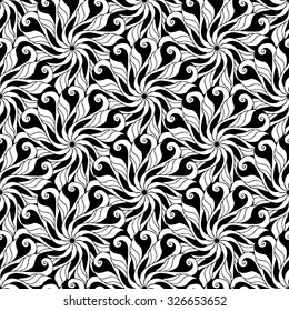 Seamless creative hand-drawn pattern composed of stylized flowers in black and white colors. Vector illustration.