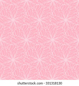 Seamless creative hand-drawn pattern composed of stylized flowers in pastel pink and light rose colors. Vector illustration.