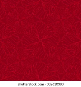 Seamless creative hand-drawn pattern composed of stylized flowers in scarlet and dark burgundy colors. Vector illustration.
