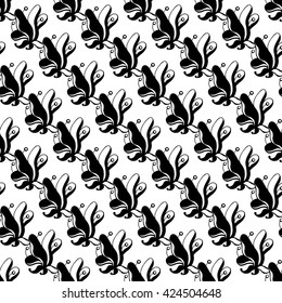 Seamless creative hand-drawn pattern composed of stylized flowers in black and white. Vector illustration.