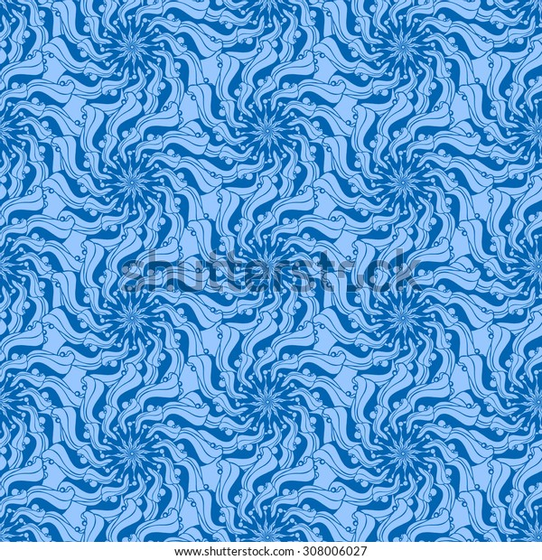 Seamless creative hand-drawn pattern composed of stylized flowers in cornflower and blue colors. Vector illustration.