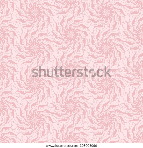 Seamless creative hand-drawn pattern composed of stylized flowers in pastel pink and cream colors. Vector illustration.