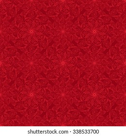 Seamless creative hand-drawn pattern of stylized flowers in bright red and dark burgundy colors. Vector illustration.