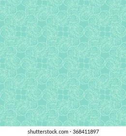 Seamless creative hand-drawn pattern of stylized flowers in pale turquoise and mint colors. Vector illustration.