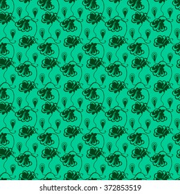 Seamless creative hand-drawn pattern of stylized flowers in pale jade and dark green colors. Vector illustration.