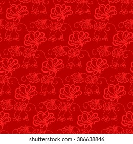 Seamless creative hand-drawn pattern of stylized flowers in dark red and scarlet colors. Vector illustration.