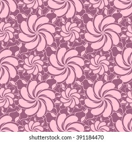 Seamless creative hand-drawn pattern of stylized flowers in light mauve and pale pink colors. Vector illustration.