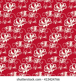 Seamless creative hand-drawn pattern of stylized flowers in pale rose and dark red colors. Vector illustration.