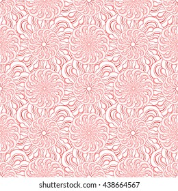 Seamless creative hand-drawn pattern of stylized flowers in white and bright scarlet colors. Vector illustration.