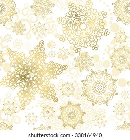 Seamless Cristmas background. Vector  New Year pattern. Gold snowflakes on the white backdrop.