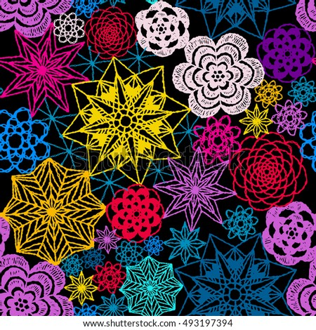 Seamless Crochet Flowers Pattern Crochet Blanket Stock Vector