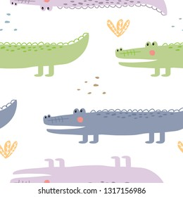 Seamless crocodile pattern. Vector illustration for printing on clothes, postcard, dishes, bed linen, packaging paper, banner, poster.  Cute child background with an exotic animal.