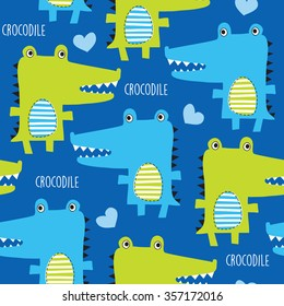 seamless crocodile pattern vector illustration