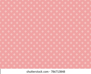 Seamless cross pattern vector. Plus icon light pink on pink background. Design print for textile, fashion, wallpaper, background.
